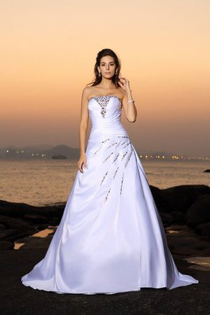 Chapel Train Strapless Empire Waist Beach Satin Wedding Dress - 1