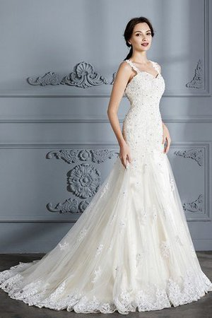 Mermaid Sweetheart Sleeveless Lace Court Train Wedding Dress - 4