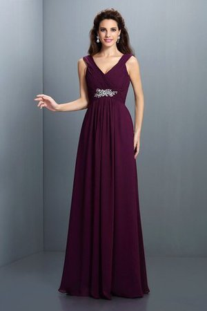 A-Line Chiffon Long Sleeveless Bridesmaid Dress - 1