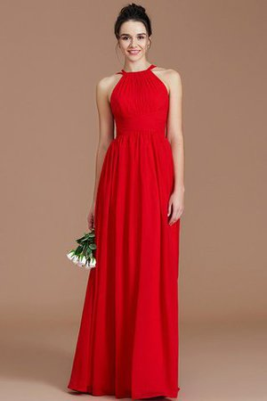 Ruched Floor Length Chiffon Natural Waist Halter Bridesmaid Dress - 1
