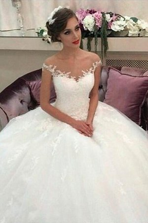 Sleeveless Natural Waist Tulle Off The Shoulder Ball Gown Wedding Dress - 1