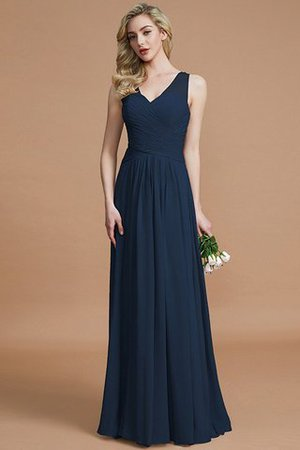 Natural Waist Floor Length A-Line V-Neck Bridesmaid Dress - 15
