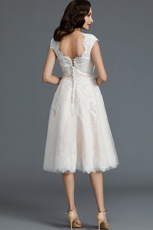 Bateau Natural Waist Sleeveless Knee Length A-Line Wedding Dress - 2