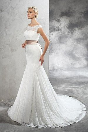 Lace Court Train Sashes Sheath Sleeveless Wedding Dress - 3
