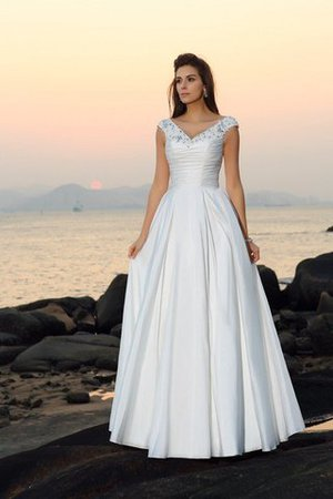 Floor Length A-Line Taffeta Long Sleeveless Wedding Dress - 1