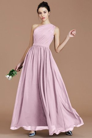 Floor Length Natural Waist Chiffon Ruched One Shoulder Bridesmaid Dress - 26