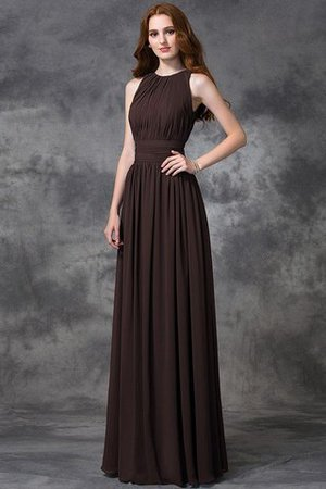 Sleeveless Ruched Natural Waist Chiffon Long Bridesmaid Dress - 8
