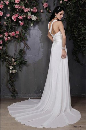 Empire Waist Sleeveless Chiffon Draped Wedding Dress - 2
