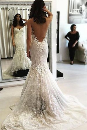 Sleeveless Natural Waist Sweetheart Mermaid Sweep Train Wedding Dress - 1