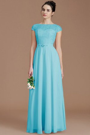 Floor Length Lace Chiffon Natural Waist Zipper Up Bridesmaid Dress - 8