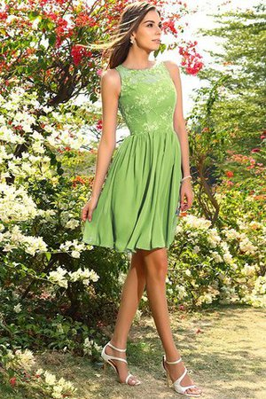 A-Line Natural Waist Sleeveless Chiffon Short Bridesmaid Dress - 14