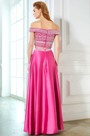 Satin Sleeveless Princess Natural Waist Beading Evening Dress - 2
