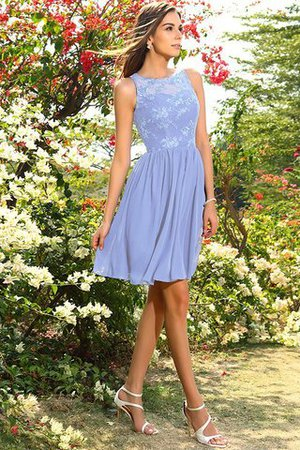 A-Line Natural Waist Sleeveless Chiffon Short Bridesmaid Dress - 17