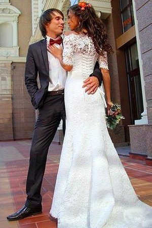 Sleeveless Off The Shoulder Sweep Train Lace Natural Waist Wedding Dress - 3