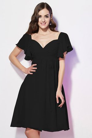 Ruffles Knee Length Short Sleeves Sweetheart Bridesmaid Dress - 2