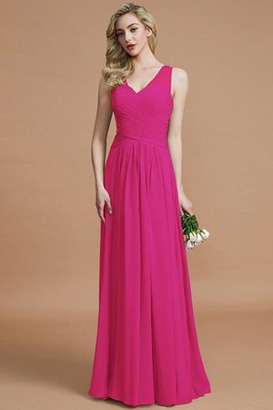 Natural Waist Floor Length A-Line V-Neck Bridesmaid Dress - 16