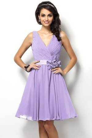 Draped A-Line V-Neck Natural Waist Bridesmaid Dress - 19