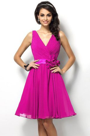 Draped A-Line V-Neck Natural Waist Bridesmaid Dress - 11