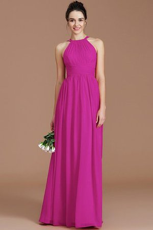 Ruched Floor Length Chiffon Natural Waist Halter Bridesmaid Dress - 18