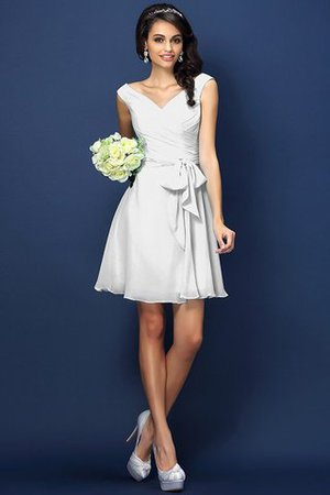Zipper Up A-Line V-Neck Short Bridesmaid Dress - 29