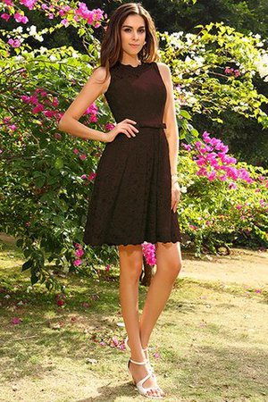 Knee Length Natural Waist Scoop Lace Elastic Woven Satin Bridesmaid Dress - 7