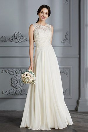 Floor Length Sleeveless Natural Waist Chiffon A-Line Wedding Dress - 1