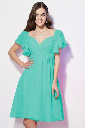 Ruffles Knee Length Short Sleeves Sweetheart Bridesmaid Dress - 15