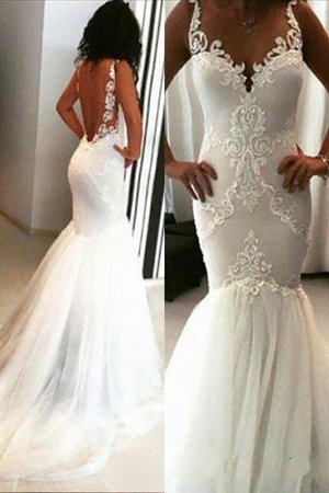 Spaghetti Straps Sleeveless Natural Waist Appliques Tulle Wedding Dress - 1