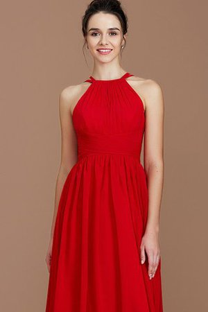 Ruched Floor Length Chiffon Natural Waist Halter Bridesmaid Dress - 5