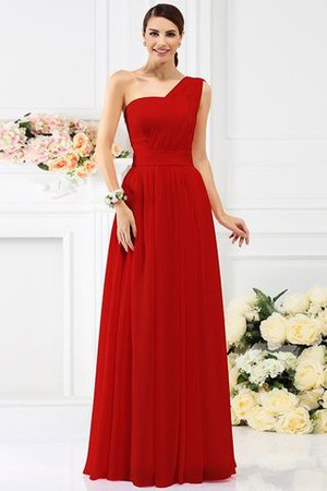 Pleated Long A-Line One Shoulder Bridesmaid Dress - 23