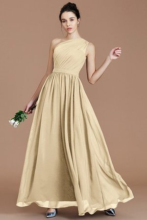 Floor Length Natural Waist Chiffon Ruched One Shoulder Bridesmaid Dress - 10