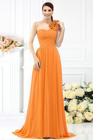 Chiffon A-Line One Shoulder Long Flowers Bridesmaid Dress - 20