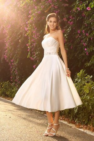 Short Zipper Up Empire Waist Sleeveless Satin Wedding Dress - 1