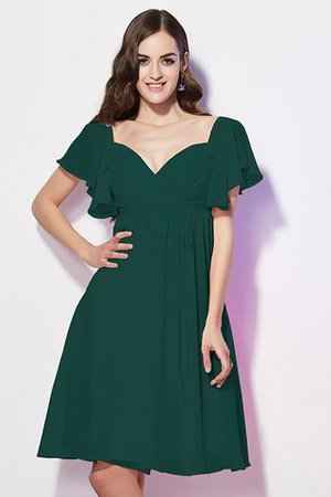 Ruffles Knee Length Short Sleeves Sweetheart Bridesmaid Dress - 8