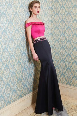 Floor Length Beading Sleeveless 2 Piece Satin Evening Dress - 4