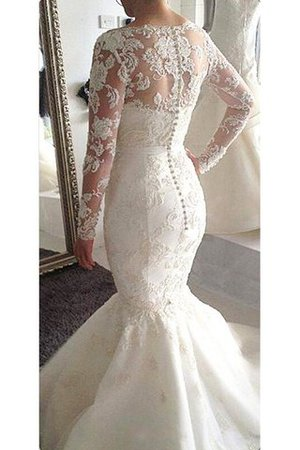 Natural Waist Appliques A-Line Long Sleeves Wedding Dress - 2