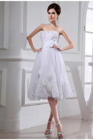 Beading Appliques Short Empire Waist Organza Wedding Dress - 1