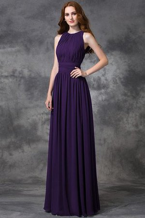 Sleeveless Ruched Natural Waist Chiffon Long Bridesmaid Dress - 12