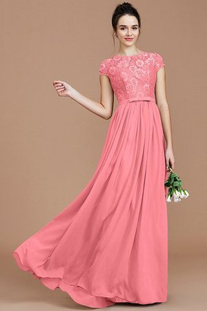 A-Line Jewel Lace Short Sleeves Bridesmaid Dress - 34