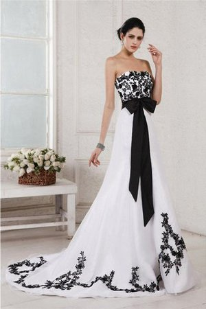 Embroidery Sleeveless Long Court Train Wedding Dress - 1