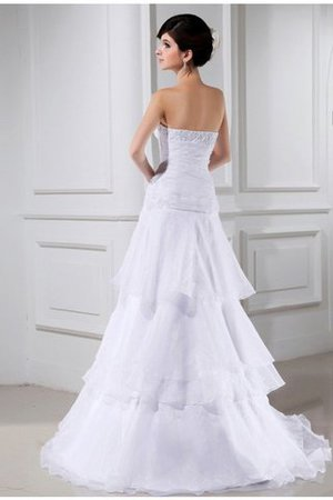 Court Train Long Zipper Up Sleeveless Beading Wedding Dress - 2
