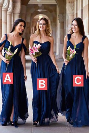 Natural Waist A-Line Sleeveless Chiffon Bridesmaid Dress - 1