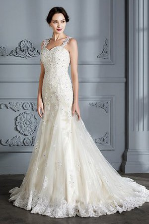 Mermaid Sweetheart Sleeveless Lace Court Train Wedding Dress - 5