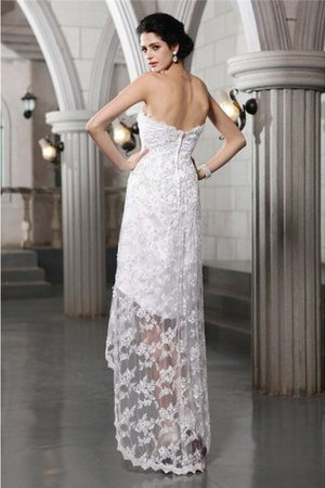 Lace Beading High Low Strapless Sheath Wedding Dress - 2