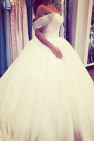 Natural Waist Tulle Off The Shoulder Ball Gown Beading Wedding Dress - 1