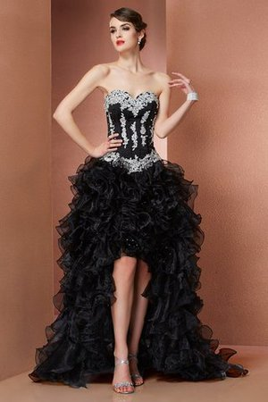 Princess Organza Appliques Asymmetrical Sleeveless Evening Dress - 1