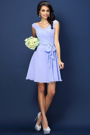 Zipper Up A-Line V-Neck Short Bridesmaid Dress - 17