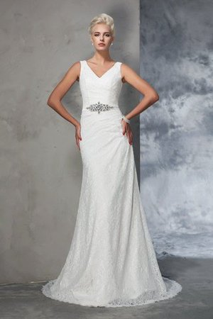 Sleeveless Mermaid V-Neck Lace Natural Waist Wedding Dress - 1