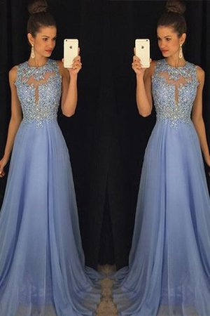 A-Line Scoop Sleeveless Appliques Chiffon Evening Dress - 2