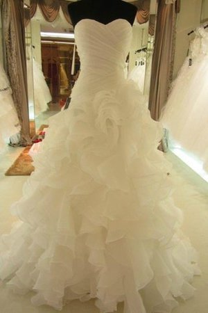Sweetheart Organza Natural Waist Ball Gown Sleeveless Wedding Dress - 1